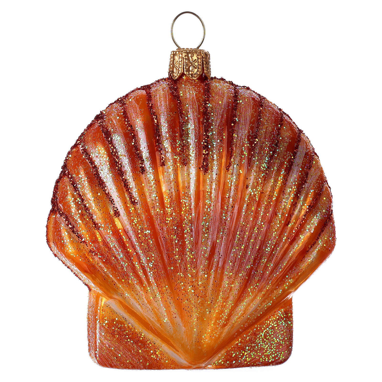 Blown glass Christmas ornament, orange seashell 4