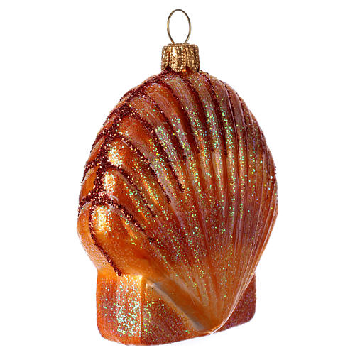 Blown glass Christmas ornament, orange seashell 2