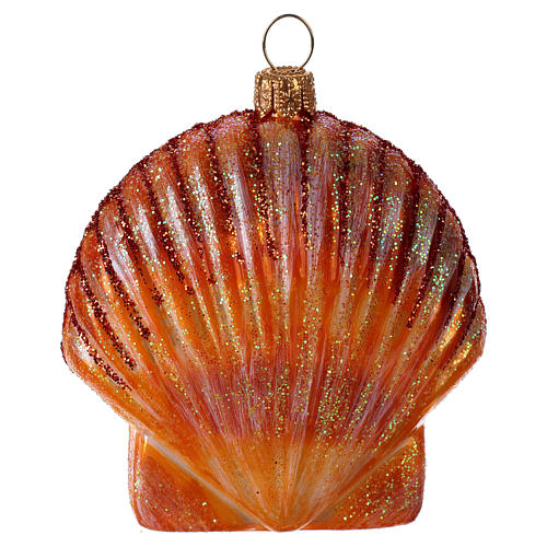 Blown glass Christmas ornament, orange seashell 3
