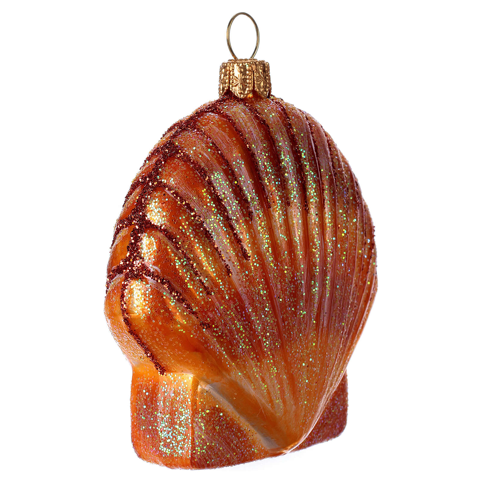 Blown glass Christmas ornament, orange shell 4