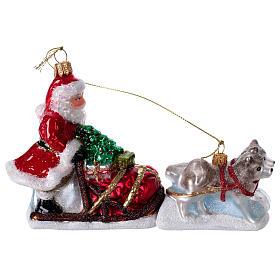 Blown glass Christmas ornament, Santa Claus dog sledding s1