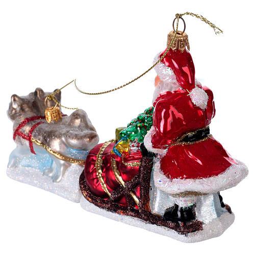 Blown glass Christmas ornament, Santa Claus dog sledding 3