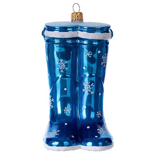 Blown glass Christmas ornament, blue rubber boots 1