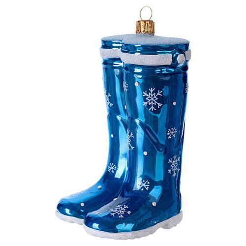 Blown glass Christmas ornament, blue rubber boots 2
