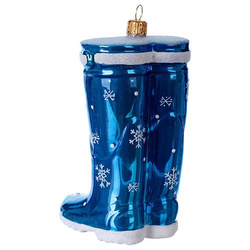 Blown glass Christmas ornament, blue rubber boots 3