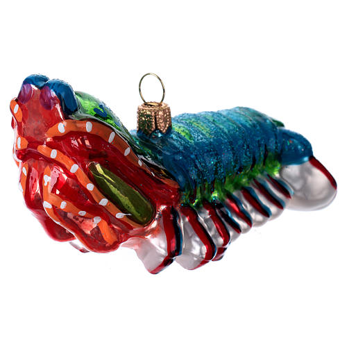 Blown glass Christmas ornament, peacock mantis shrimp 2
