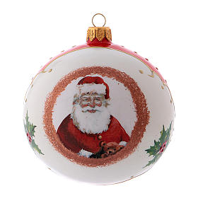 Pallina Natale tonda con Babbo Natale in vetro soffiato 100 mm s1