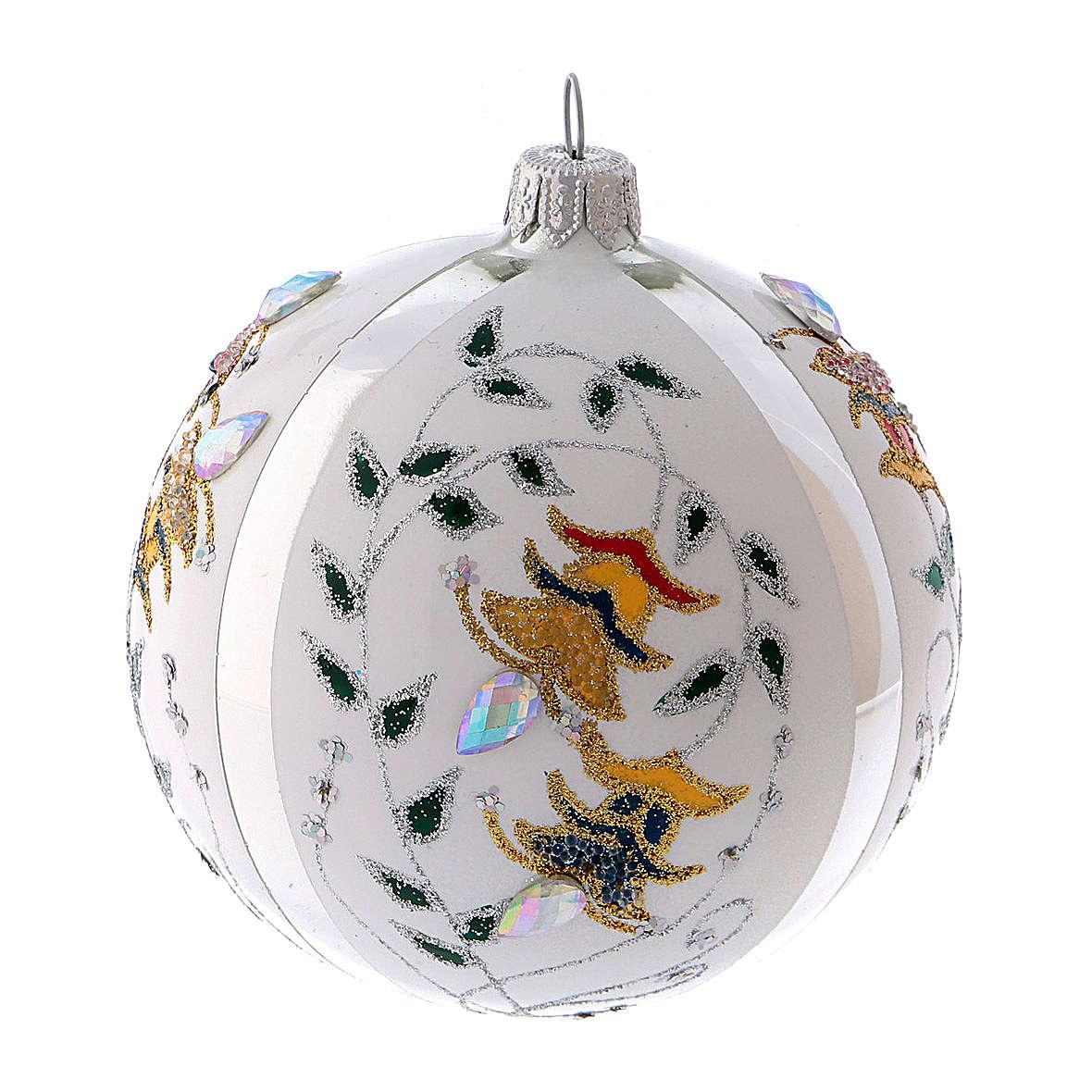 Pallina di Natale in vetro soffiato bianco con fiori 100 mm 4