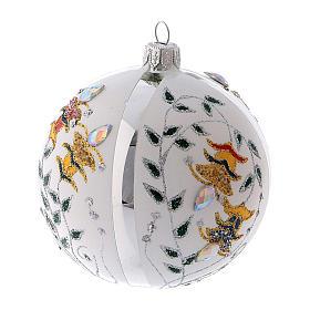 Pallina di Natale in vetro soffiato bianco con fiori 100 mm s1