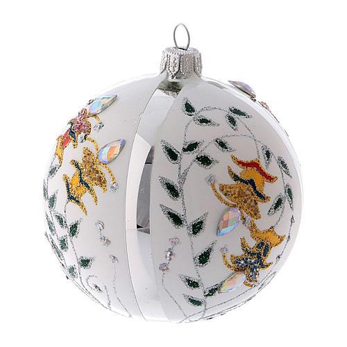 Pallina di Natale in vetro soffiato bianco con fiori 100 mm 1