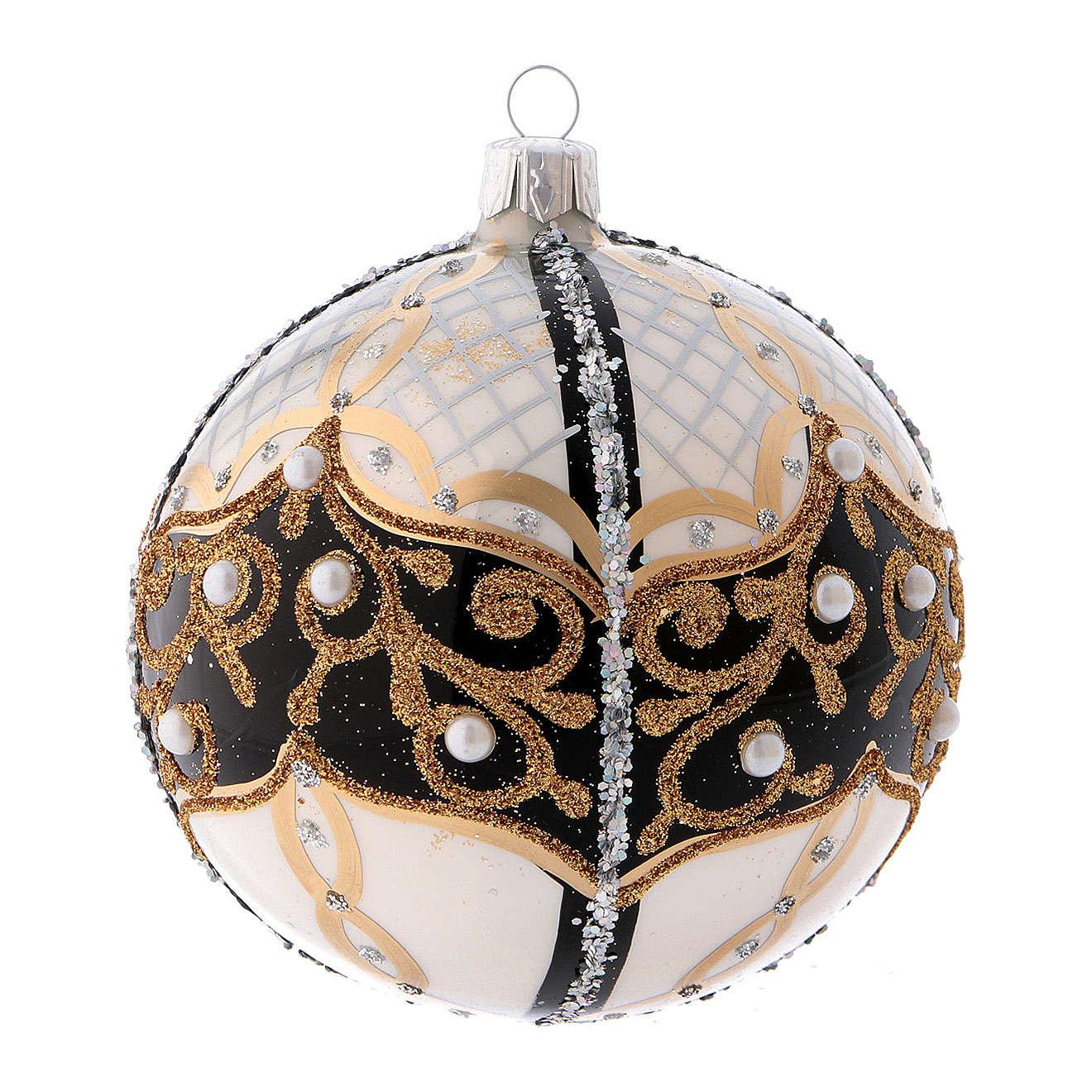 Pallina di Natale in vetro soffiato con perle 100 mm 4