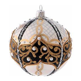 Pallina di Natale in vetro soffiato con perle 100 mm s1