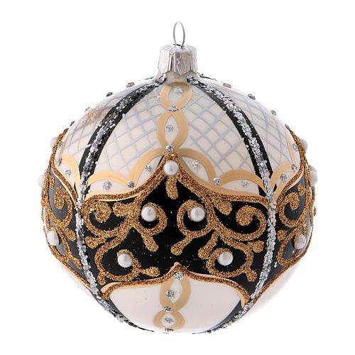 Pallina di Natale in vetro soffiato con perle 100 mm 1
