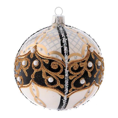 Pallina di Natale in vetro soffiato con perle 100 mm 2