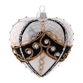 Pallina di Natale a forma di cuore in vetro soffiato 100 mm s1