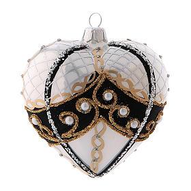Pallina di Natale a forma di cuore in vetro soffiato 100 mm s3
