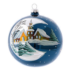 Weihnachtsbaumkugel aus mundgeblasenem Glas, Grundfarbe Blau, mit Spiegeleffekt, 120 mm s1