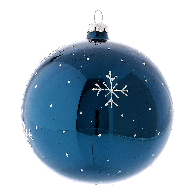 Boule de Noël effet miroir couleur bleue en verre soufflé 120 mm 4
