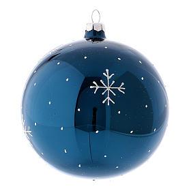 Boule de Noël effet miroir couleur bleue en verre soufflé 120 mm s2