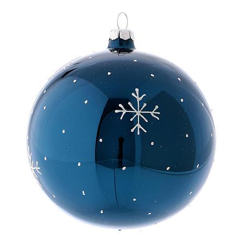 Boule de Noël effet miroir couleur bleue en verre soufflé 120 mm 2