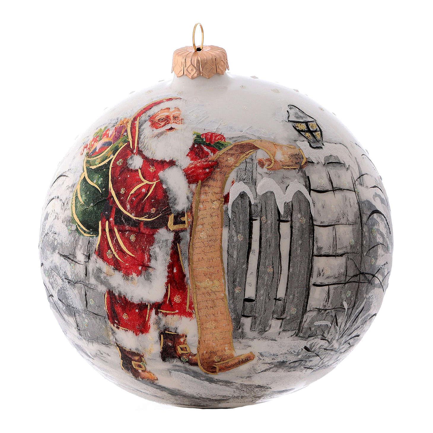 Weihnachtsbaumkugel aus mundgeblasenem Glas, Grundfarbe Weiß, Motiv Weihnachtsmann, 150 mm 4