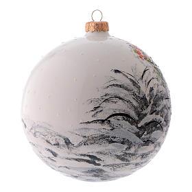 Weihnachtsbaumkugel aus mundgeblasenem Glas, Grundfarbe Weiß, Motiv Weihnachtsmann, 150 mm s2