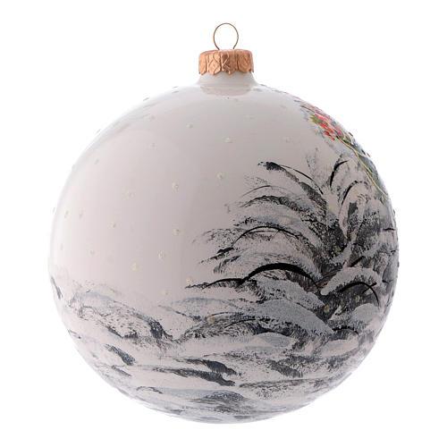 Weihnachtsbaumkugel aus mundgeblasenem Glas, Grundfarbe Weiß, Motiv Weihnachtsmann, 150 mm 2