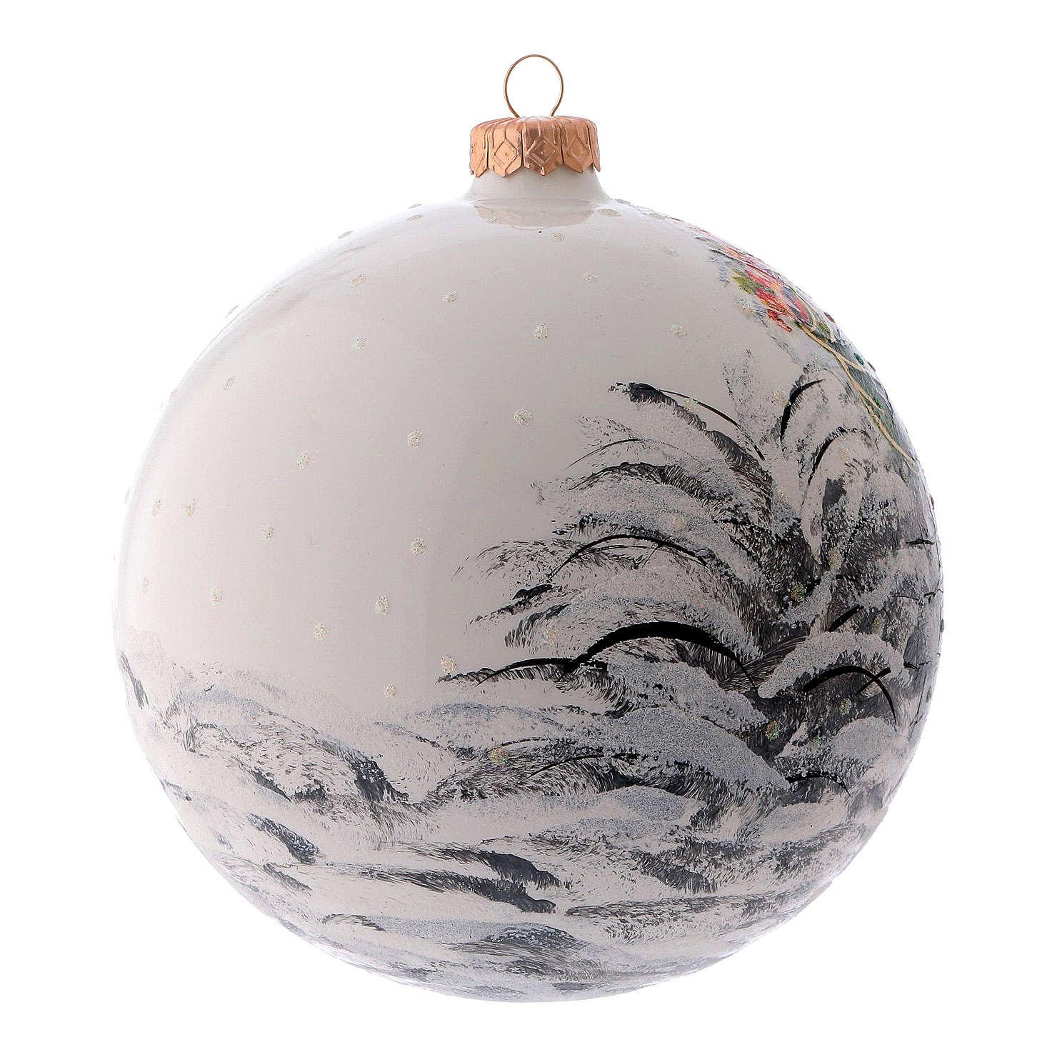 Pallina di Natale bianca Babbo Natale vetro soffiato 150 mm 4
