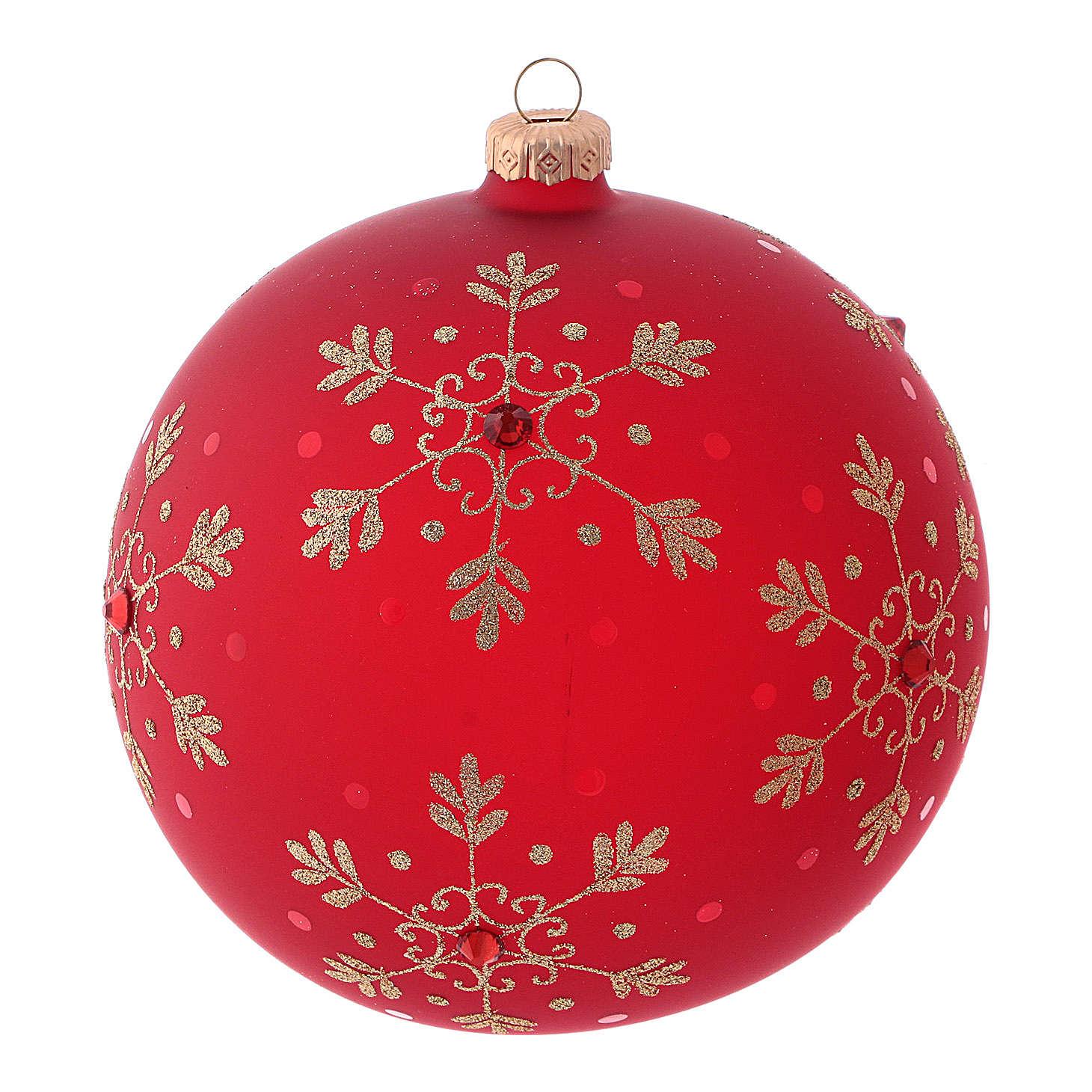 Bola de Navidad roja con copos de nieve de vidrio soplado 150 mm 4