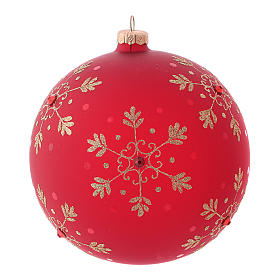 Bola de Navidad roja con copos de nieve de vidrio soplado 150 mm s2