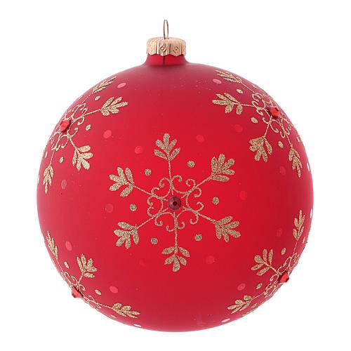 Bola de Navidad roja con copos de nieve de vidrio soplado 150 mm 2