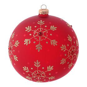 Pallina di Natale rossa con fiocchi di neve in vetro soffiato 150 mm s1