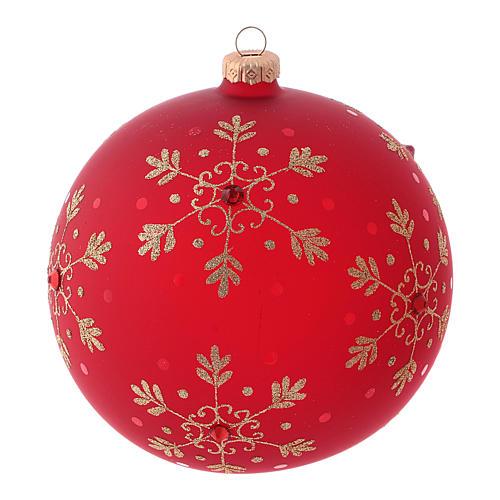 Pallina di Natale rossa con fiocchi di neve in vetro soffiato 150 mm 1