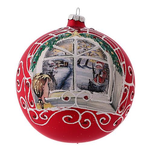 Bola de Navidad rojo vidrio soplado niña a la ventana 150 mm 1