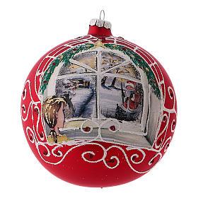 Pallina di Natale rosso vetro soffiato bambina alla finestra 150 mm s1
