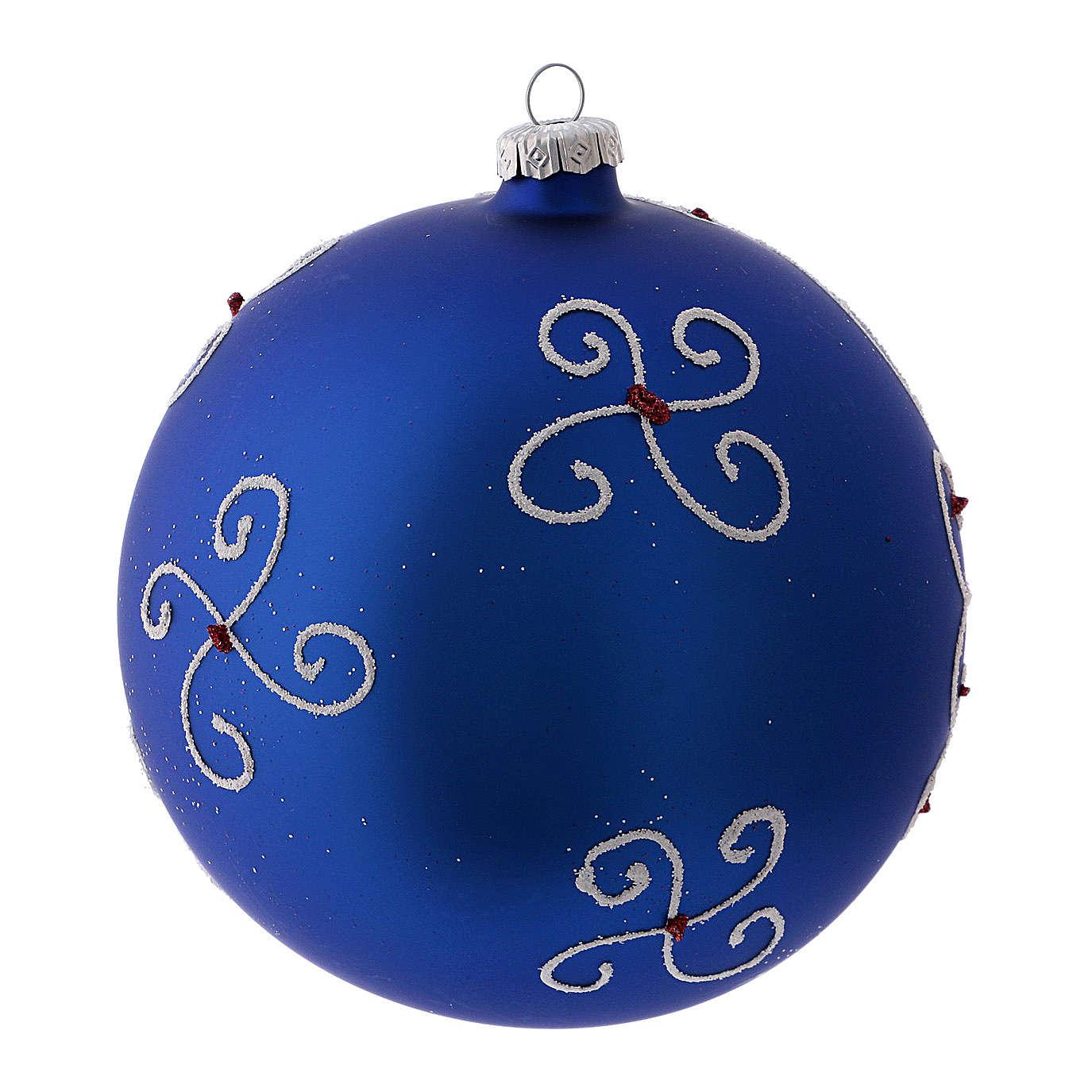 Bola de Navidad azul con ventana de vidrio soplado 150 mm 4
