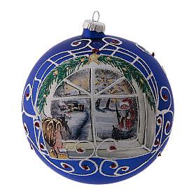 Boule de Noël bleue avec fenêtre ne verre soufflé 150 mm s1