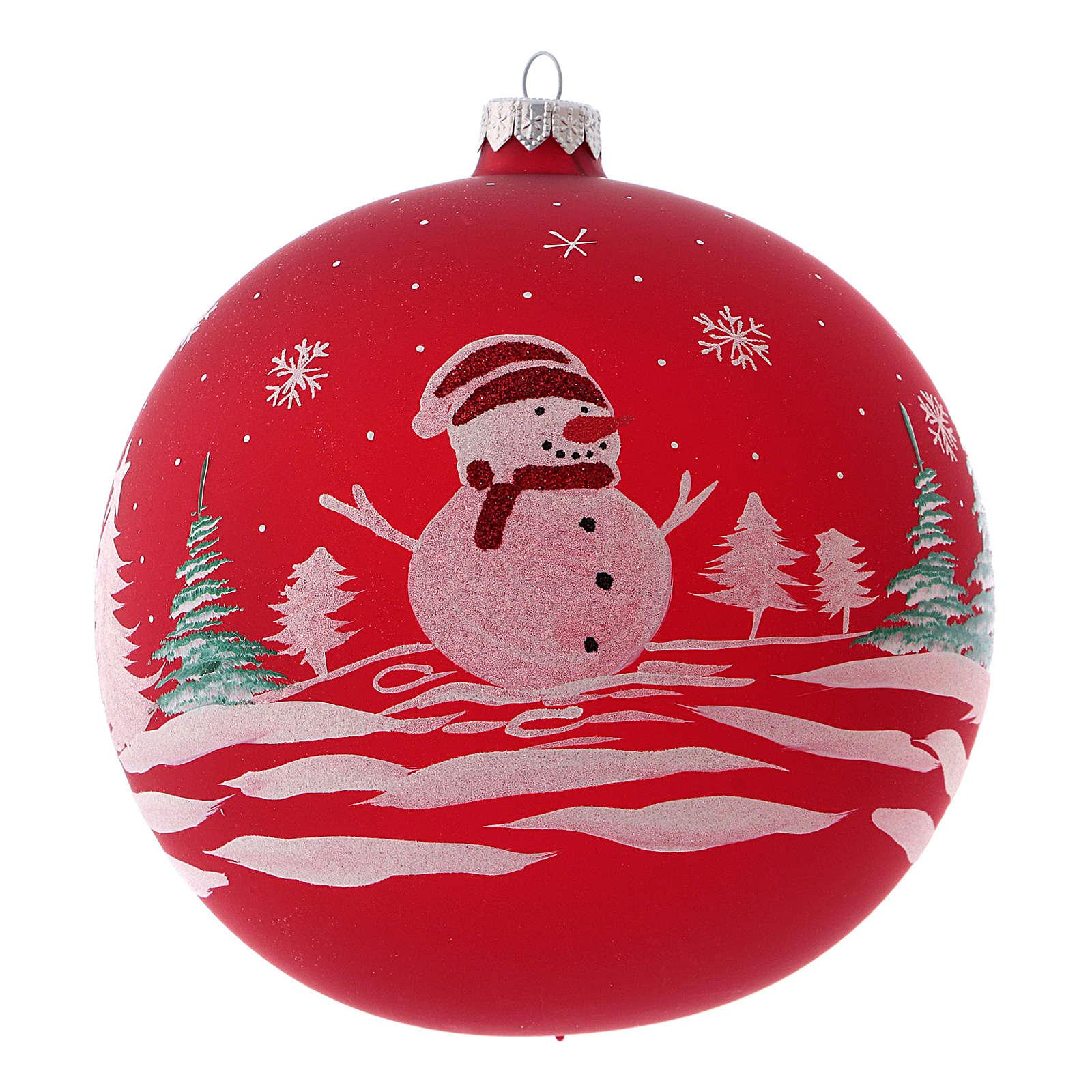 Pallina di Natale in vetro soffiato con pupazzo di neve 150 mm 4