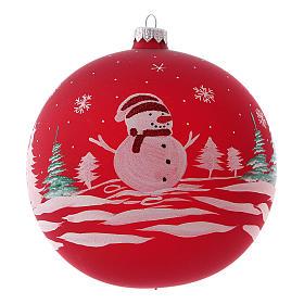 Pallina di Natale in vetro soffiato con pupazzo di neve 150 mm s1