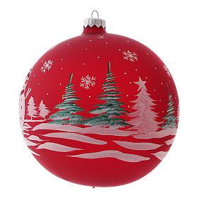 Pallina di Natale in vetro soffiato con pupazzo di neve 150 mm s2