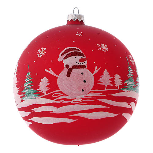 Pallina di Natale in vetro soffiato con pupazzo di neve 150 mm 1