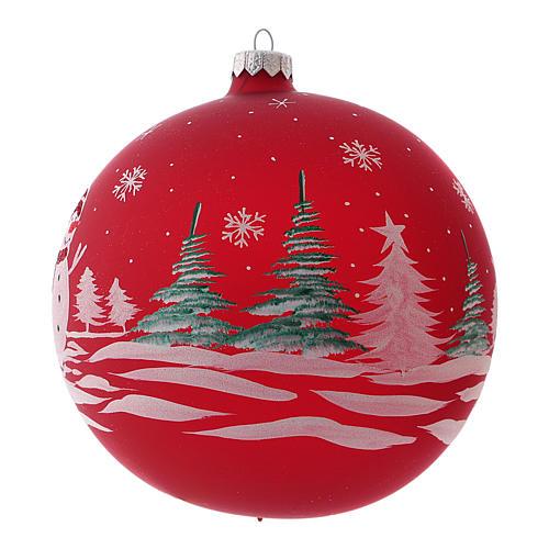 Pallina di Natale in vetro soffiato con pupazzo di neve 150 mm 2