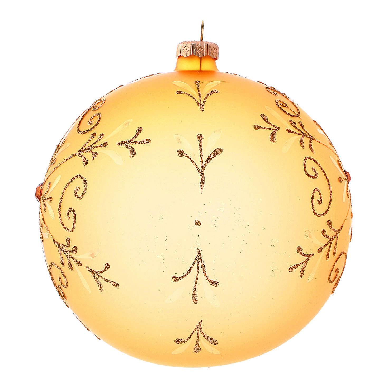 Bola de Navidad de vidrio soplado con motivos purpurina 150 mm 4