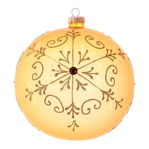 Bola de Navidad de vidrio soplado con motivos purpurina 150 mm 1