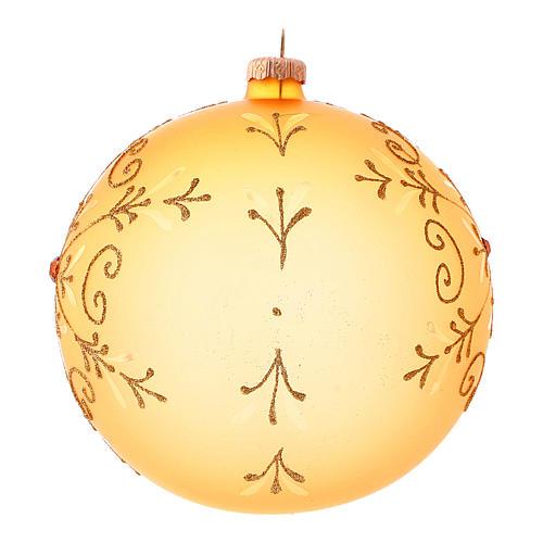 Bola de Navidad de vidrio soplado con motivos purpurina 150 mm 2