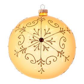 Pallina di Natale in vetro soffiato con decori glitter 150 mm s1