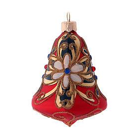 3-er Set, Weihnachtsbaumkugeln aus mundgeblasenem Glas, Glockenform, Grundfarbe Rot, mit blauen Verzierungen s2