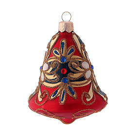 3-er Set, Weihnachtsbaumkugeln aus mundgeblasenem Glas, Glockenform, Grundfarbe Rot, mit blauen Verzierungen s3