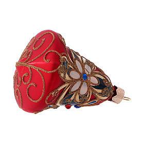 3-er Set, Weihnachtsbaumkugeln aus mundgeblasenem Glas, Glockenform, Grundfarbe Rot, mit blauen Verzierungen s4