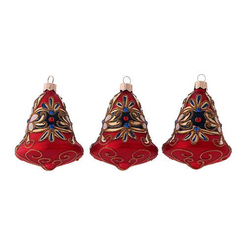 3-er Set, Weihnachtsbaumkugeln aus mundgeblasenem Glas, Glockenform, Grundfarbe Rot, mit blauen Verzierungen 1